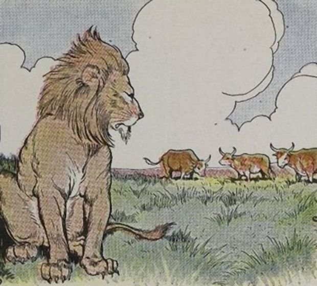 Aesop's Fables - Three Bullocks And A Lion By Milo Winter