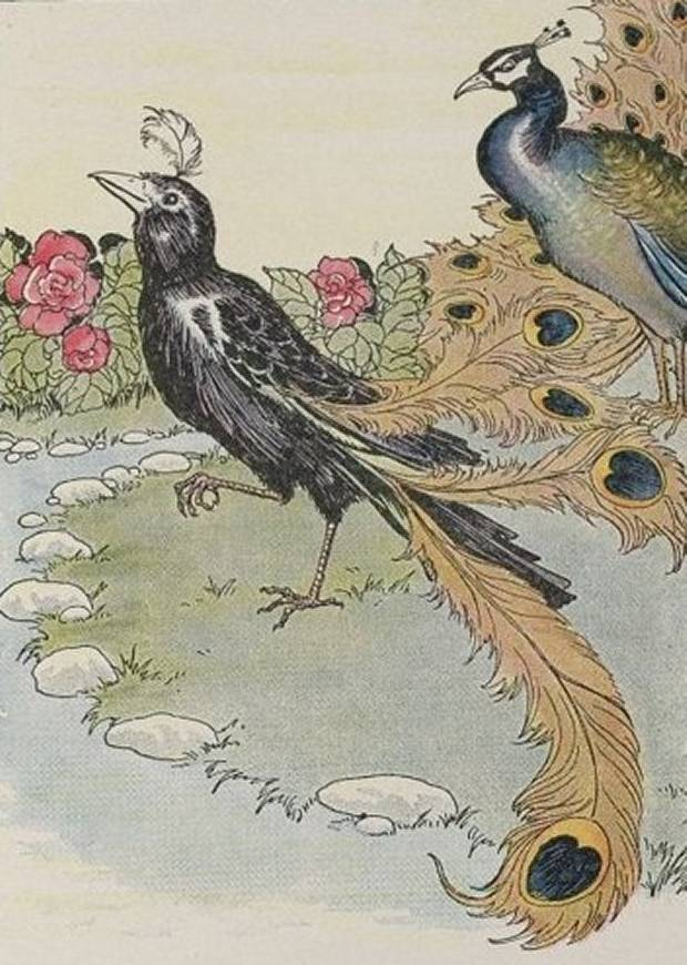 Aesop's Fables - The Vain Jackdaw And His Borrowed Feathers By Milo Winter