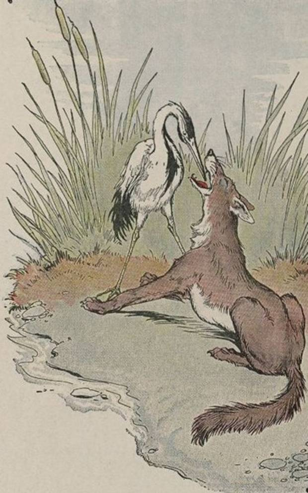 Aesop's Fables - The Wolf And Crane By Milo Winter