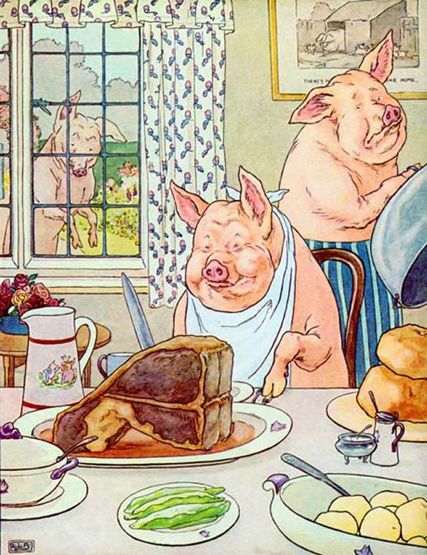 The Three Little Pigs Eating Roast Beef By Leonard Leslie Brooke