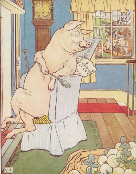 Classic Fairy Tale - Illustration For The Three Little Pigs By Leonard Leslie Brooke