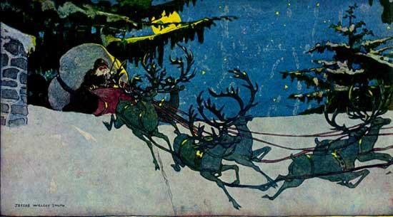 Illustration For Twas The Night Before Christmas - By Clement Clarke Moore