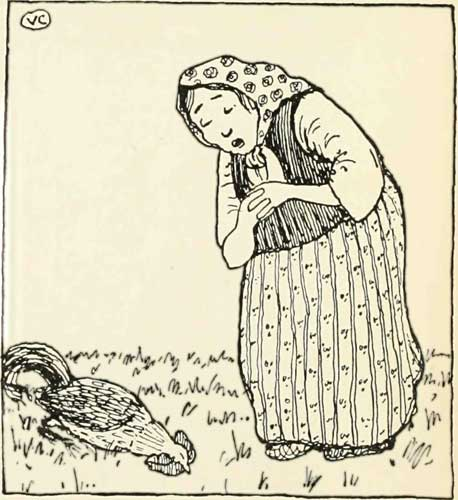 Russian Folk Tale - Illustration For The Cock And The Bean