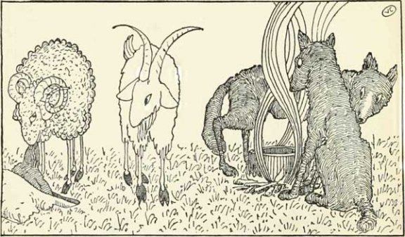 Russian Folk Tale - Illustration For The Goat And The Ram