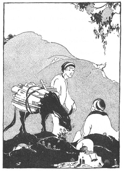 Illustration For The Tibetan Folk Tale The Story Of The Donkey And The Rock